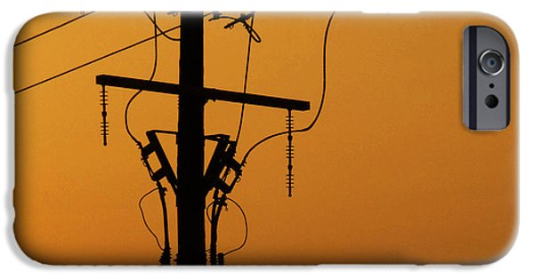 Grid Photographs iPhone Cases - Power Line Sunset iPhone Case by Don Spenner