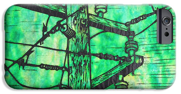 Lino Drawings iPhone Cases - Power Lines iPhone Case by William Cauthern
