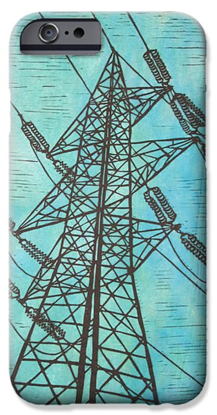 Linoluem Drawings iPhone Cases - Power iPhone Case by William Cauthern