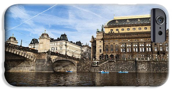 Travel Pyrography iPhone Cases - Prague from Vltava iPhone Case by Jelena Jovanovic