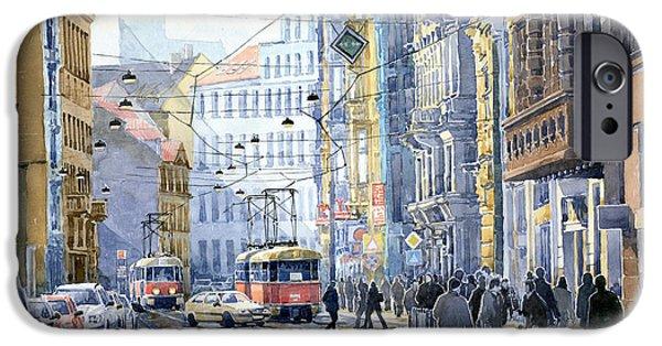 Buildings iPhone Cases - Prague Vodickova str  iPhone Case by Yuriy  Shevchuk