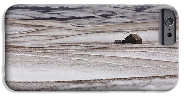 Snow Scene iPhone Cases - Prairie Landscape in winter iPhone Case by Mark Duffy