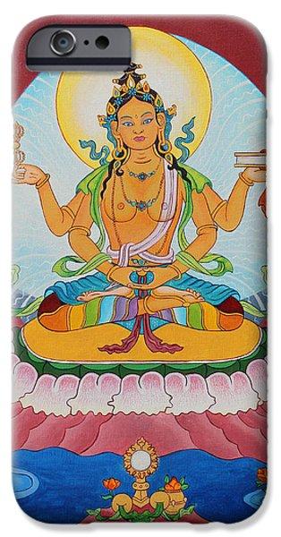 Tibetan Buddhism iPhone Cases - Prajnaparamita iPhone Case by Sarah Grubb