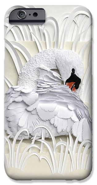 Swans... Sculptures iPhone Cases - Preening iPhone Case by John Hebb