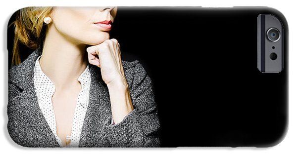 Chin Up Photographs iPhone Cases - Preoccupied beautiful business woman iPhone Case by Ryan Jorgensen