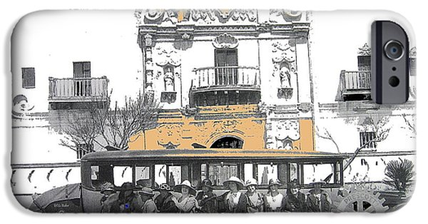 Prescott iPhone Cases - Prescott Arizona Rotarians visit the San Xavier Mission c.1922-2013.  iPhone Case by David Lee Guss