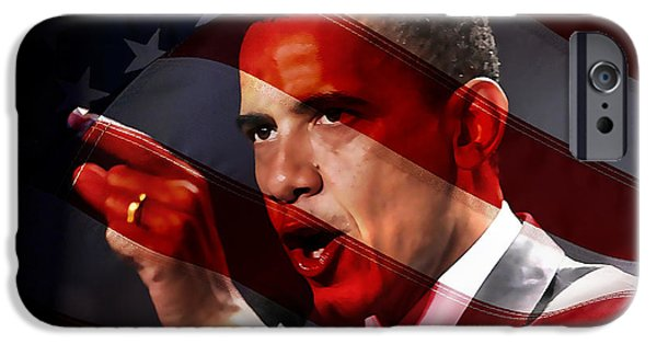 Barack Obama iPhone Cases - President Barack Obama iPhone Case by Marvin Blaine