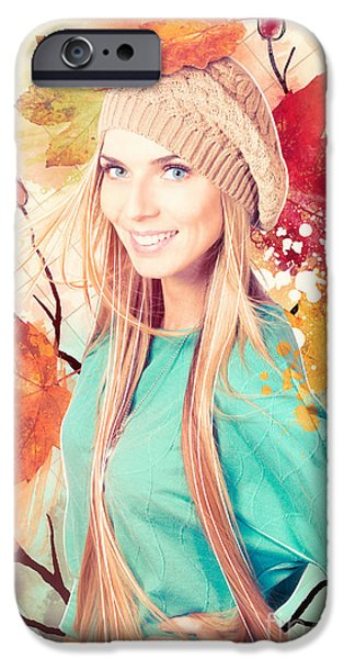 Hand-watercolored iPhone Cases - Pretty blond girl in autumn fashion illustration iPhone Case by Ryan Jorgensen