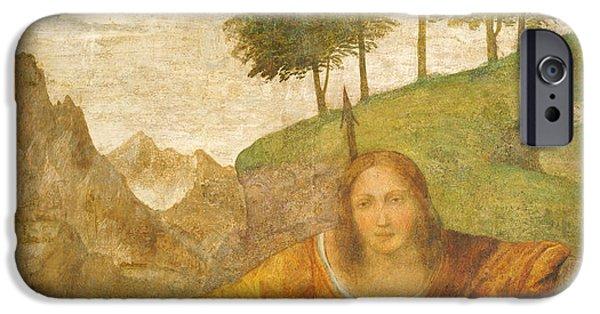Art By God iPhone Cases - Procris Pierced by Cephalus Javelin iPhone Case by Bernardino Luini