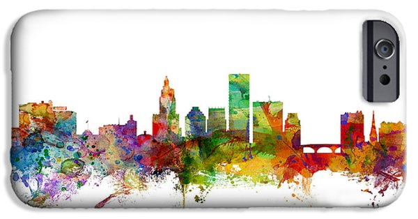 Rhode Island iPhone Cases - Providence Rhode Island Skyline iPhone Case by Michael Tompsett