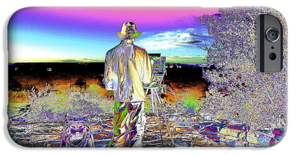 Painter Photo Photographs iPhone Cases - Psychedelic artist at Grand Canyon iPhone Case by Peter Lloyd