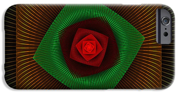 Green Geometry Art iPhone Cases - Psychedelic Spiral Vortex Green And Red Fractal Flame iPhone Case by Keith Webber Jr