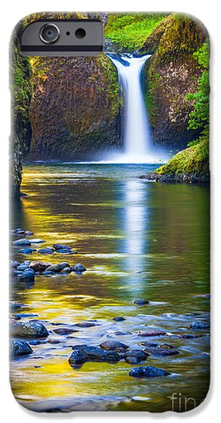 Pacific Northwest Rivers iPhone Cases - Punchbowl Falls iPhone Case by Inge Johnsson