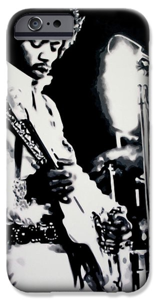 James Marshall Jimi Hendrix iPhone Cases - Purple Haze iPhone Case by Luis Ludzska