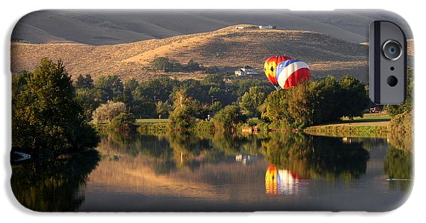 Reflection Of Trees iPhone Cases - Quiet Morning Reflection in Prosser iPhone Case by Carol Groenen
