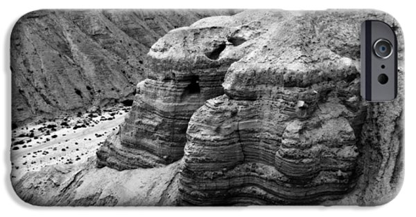Historic Site iPhone Cases - Qumran Cave 4 BW iPhone Case by Stephen Stookey