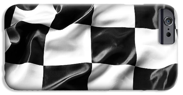 Flag iPhone Cases - Racing flag iPhone Case by Les Cunliffe