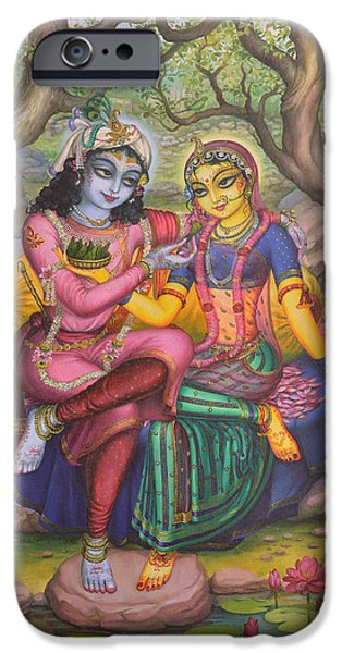 Hinduism iPhone Cases - Radha and Krishna iPhone Case by Vrindavan Das