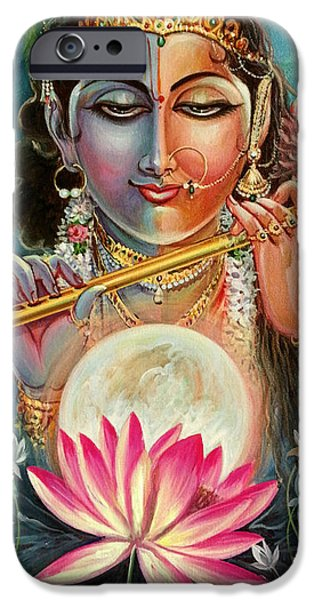 Night Angel iPhone Cases - Radha Krishna iPhone Case by Mayur Sharma