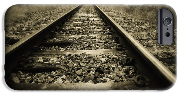 Sepia iPhone Cases - Railway tracks iPhone Case by Les Cunliffe