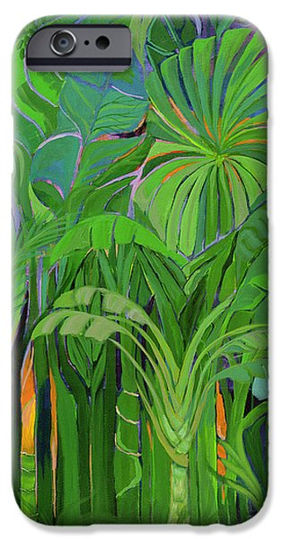 Rainforest iPhone Cases - Rain Forest, Malaysia, 1990 Acrylic On Canvas iPhone Case by Laila Shawa
