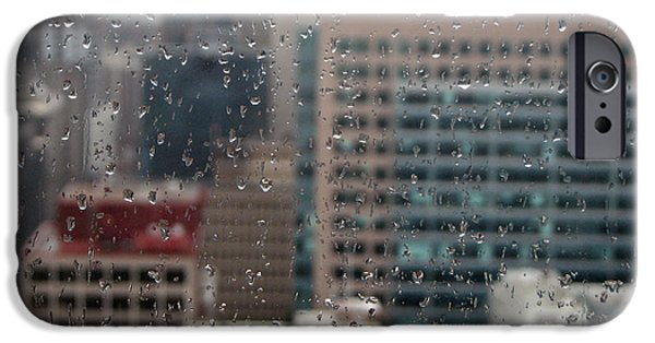 Raining Pyrography iPhone Cases - Rain over the city iPhone Case by Mira Slava Shulzhevskaya