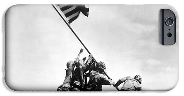 Ww2 iPhone Cases - Raising The Flag On Iwo Jima iPhone Case by War Is Hell Store
