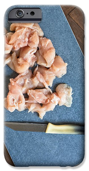 Board iPhone Cases - Raw chicken iPhone Case by Tom Gowanlock