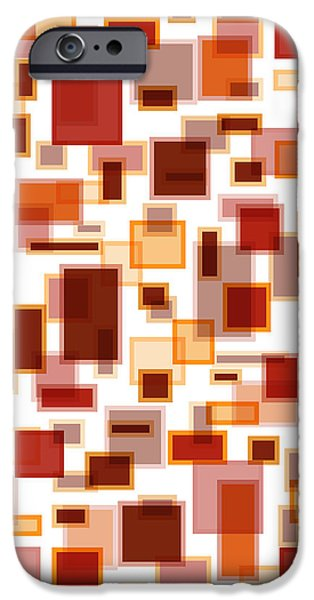 Red Abstract Rectangles iPhone Case by Frank Tschakert
