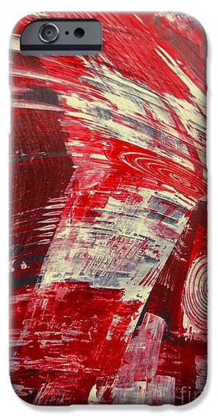 Red Abstract Ceramics iPhone Cases - Red And White iPhone Case by Gabriele Mueller