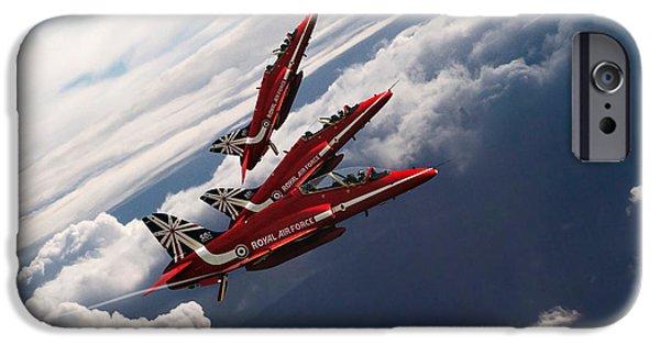 Red Tail Hawk Digital Art iPhone Cases - Red Arrows Trio iPhone Case by J Biggadike
