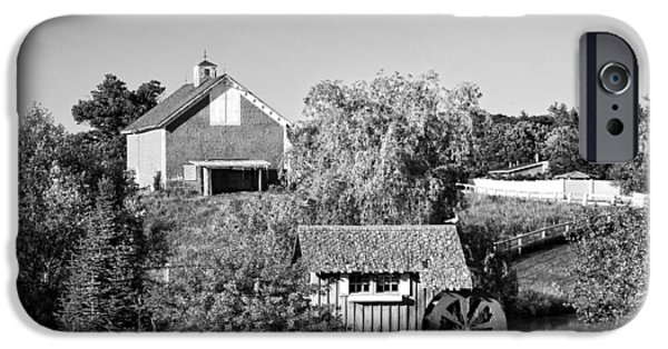 Shed Digital Art iPhone Cases - Red Barn And Water Mill On Farm In Maine iPhone Case by Keith Webber Jr