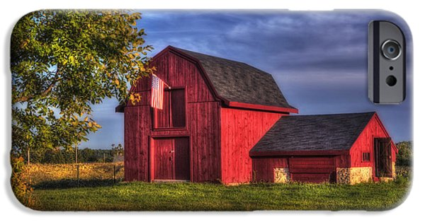 Old Barns iPhone Cases - Red Barn in Autumn iPhone Case by Joann Vitali