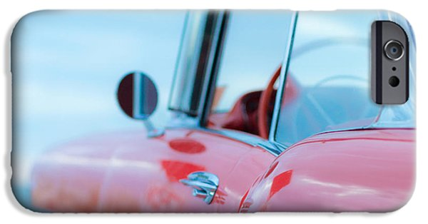 60s Photographs iPhone Cases - Red Chevy 57 Bel Air at the beach Square iPhone Case by Edward Fielding