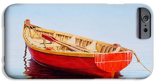 Fishing Boat iPhone Cases - Red Boat iPhone Case by Horacio Cardozo