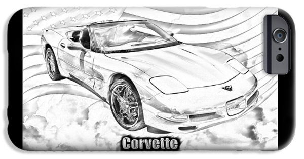 Technology iPhone Cases - Red C5 Corvette convertible Muscle Car iPhone Case by Keith Webber Jr