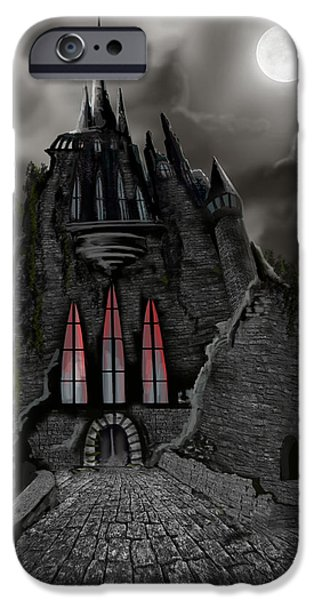 Moonscape iPhone Cases - Red Death Tower iPhone Case by James Christopher Hill
