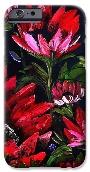 Best Sellers -  - Bob Ross Paintings iPhone Cases - RED FLOWERs iPhone Case by Shirwan Ahmed
