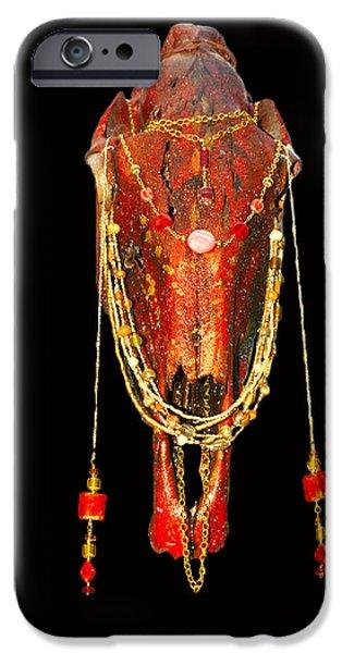 Michael Mixed Media iPhone Cases - Red Illuminating Horse Skull  iPhone Case by Mayhem Mediums