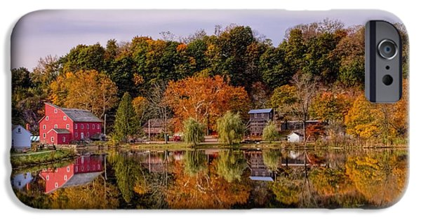 Grist Mill iPhone Cases - Red Mill in Clinton New Jersey iPhone Case by Geraldine Scull