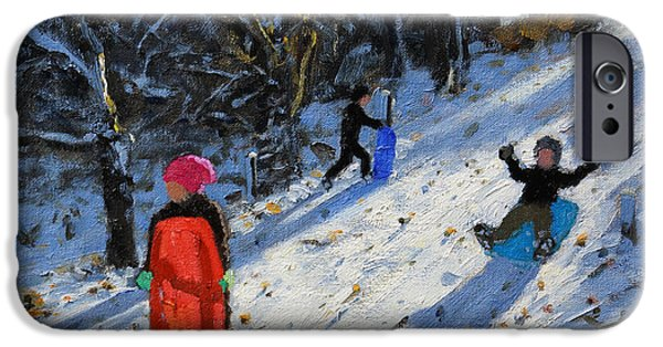 Tobogganing iPhone Cases - Red sledge iPhone Case by Andrew Macara