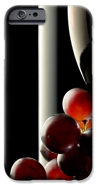 Glass Reflections iPhone Cases - Red wine with grapes iPhone Case by Johan Swanepoel