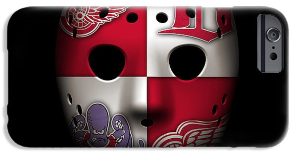 Red Wings iPhone Cases - Red Wings Goalie Mask iPhone Case by Joe Hamilton