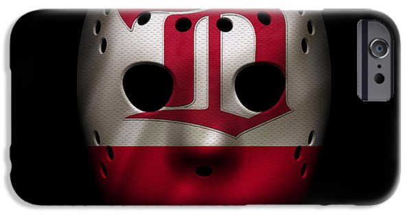 Detroit Red Wings iPhone Cases - Red Wings Jersey Mask iPhone Case by Joe Hamilton