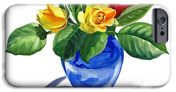 Celebration Paintings iPhone Cases - Red Yellow and Blue iPhone Case by Irina Sztukowski