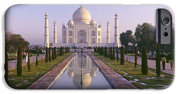 Built Structure iPhone Cases - Reflection Of A Mausoleum On Water, Taj iPhone Case by Panoramic Images