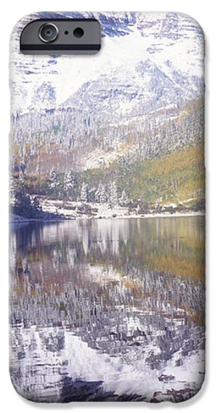Mountain iPhone Cases - Reflection Of A Mountain In A Lake iPhone Case by Panoramic Images