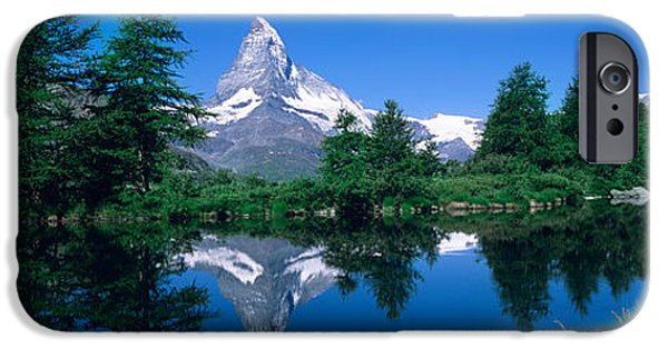 Generic iPhone Cases - Reflection Of A Snow Covered Mountain iPhone Case by Panoramic Images