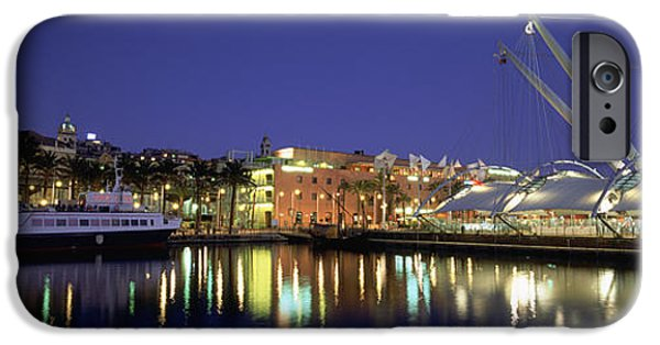 Genoa iPhone Cases - Reflection Of Buildings In Water, The iPhone Case by Panoramic Images