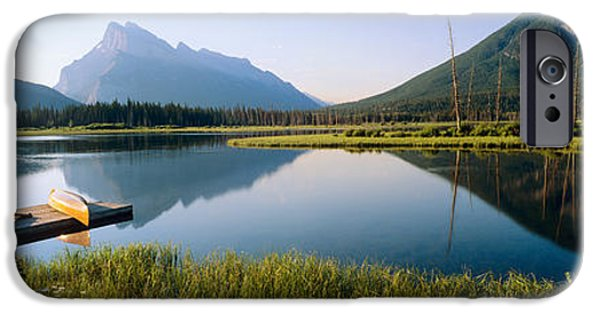 Canoe iPhone Cases - Reflection Of Mountains In Water iPhone Case by Panoramic Images
